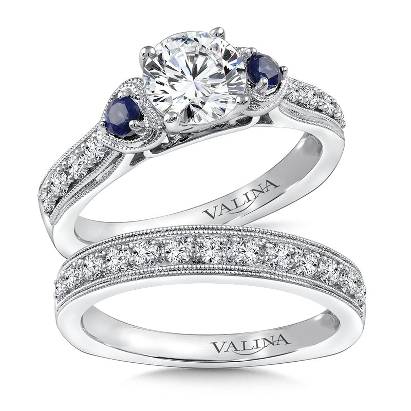Valina Diamond & Blue Sapphire Engagement Ring Mounting in 14K White/Rose Gold (.20 ct. tw.)