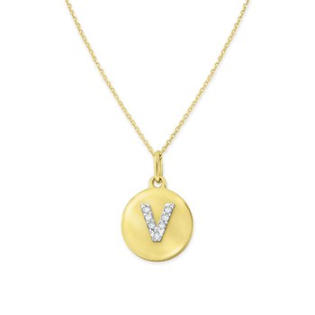 Diamond Uppercase Mini Disc Initial V Necklace