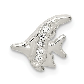 Sterling Silver CZ Fish Chain Slide