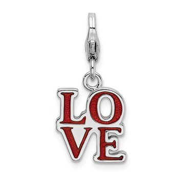 Sterling Silver RH Red Enameled Love with Lobster Clasp Charm