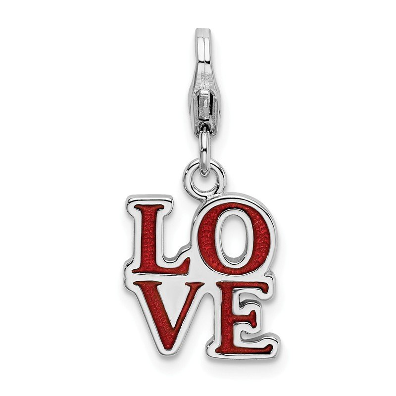 Quality Gold Sterling Silver Red Enameled Love with Lobster Clasp Charm