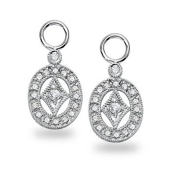Diamond Oval Drop Earring Charms in 14k White Gold with 36 Diamonds weighing .22ct tw.