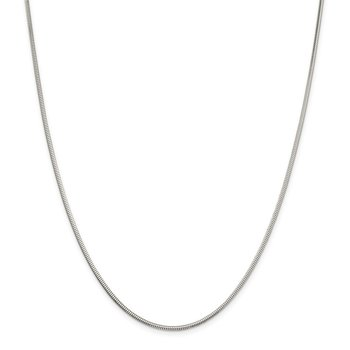 Sterling Silver 2mm Diamond-cut Snake Chain
