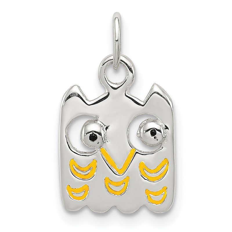 Quality Gold Sterling Silver Yellow Enameled Owl Charm