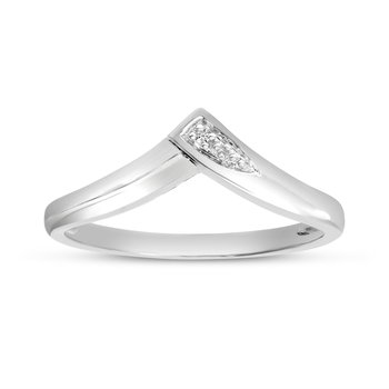 10K White Gold Diamond Chevron Ring