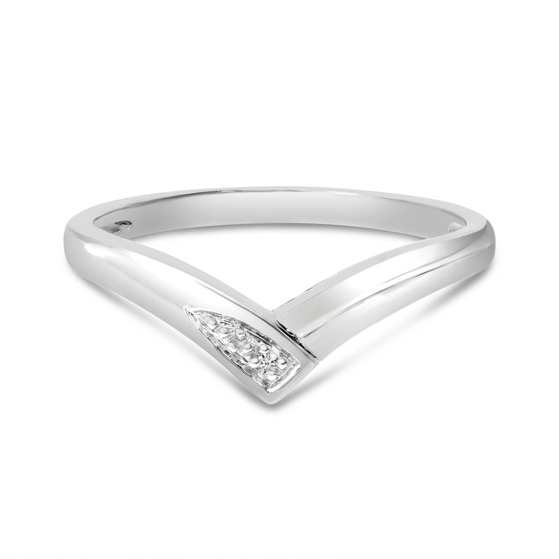 Color Merchants 10K White Gold Diamond Chevron Ring
