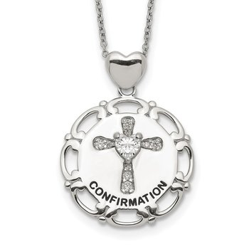 Sterling Silver Enameled CZ Confirmation Cross Necklace