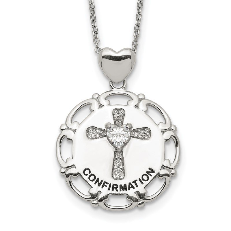Quality Gold Sterling Silver Enameled CZ Confirmation Cross Necklace