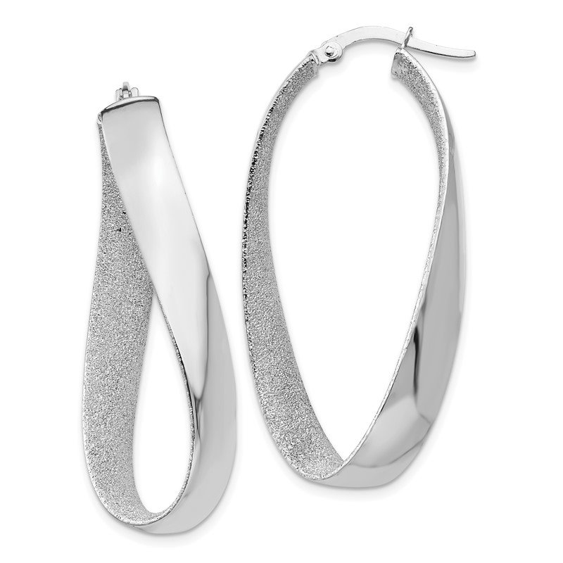 Quality Gold 14K White Rhodium Satin and Polished Twisted Hoop Earrings