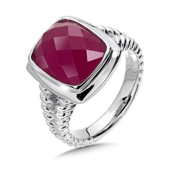 Sterling Silver Dyed Fuchsia Quartz Essentials Ring