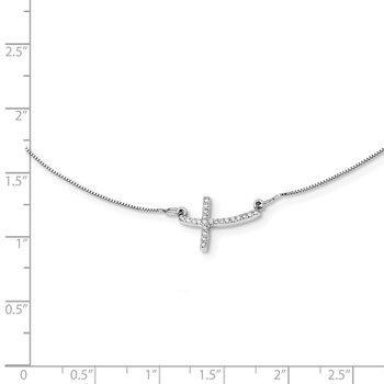 14k White Gold Diamond Sideways Cross 18 in. Necklace
