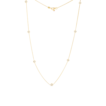 18KT GOLD NECKLACE WITH 7 DIAMOND STATIONS