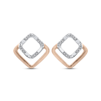 Essentials 10K Two Tone Gold .07 ct Round Diamond Square Shape Fashion Stud Earrings