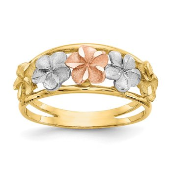 14k Two-Tone & Rhodium Satin/Polished D/C Flower Ring