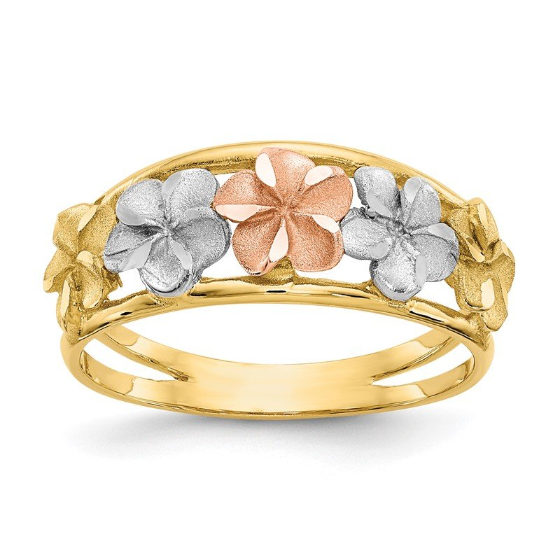 Quality Gold 14k Two-Tone & Rhodium Satin/Polished D/C Flower Ring