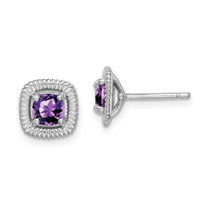 Quality Gold Sterling Silver Rhod-plat Amethyst Square Post Earrings