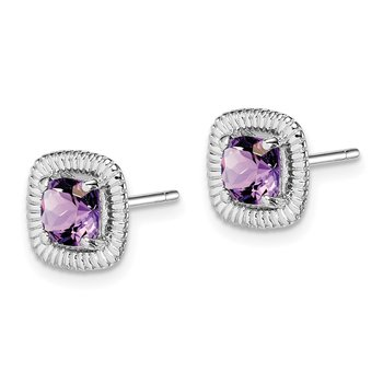 Sterling Silver Rhod-plat Amethyst Square Post Earrings