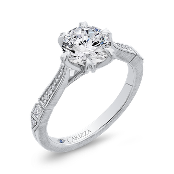 18K White Gold Round Cut Diamond Engagement Ring (Semi-Mount)