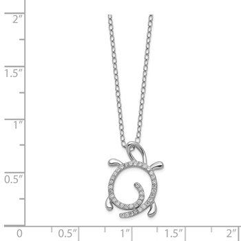 Cheryl M SS CZ Turtle Necklace