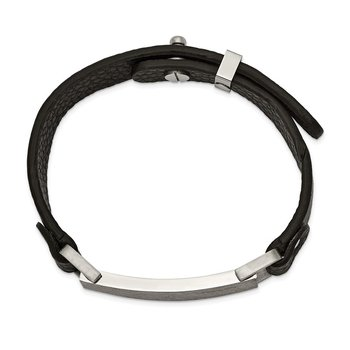 Stainless Steel Polished Scratch Finished Adjustable Black Leather Bracelet