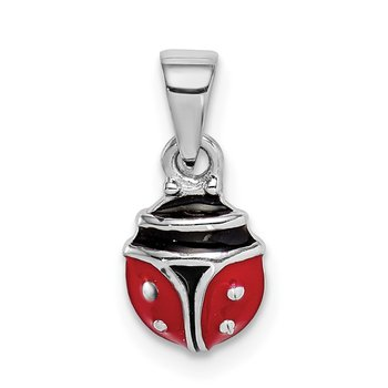 Sterling Silver Rhodium-plated Childs Enameled Lady Bug Pendant