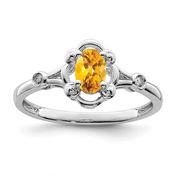 Sterling Silver Rhodium-plated Citrine & Diam. Ring