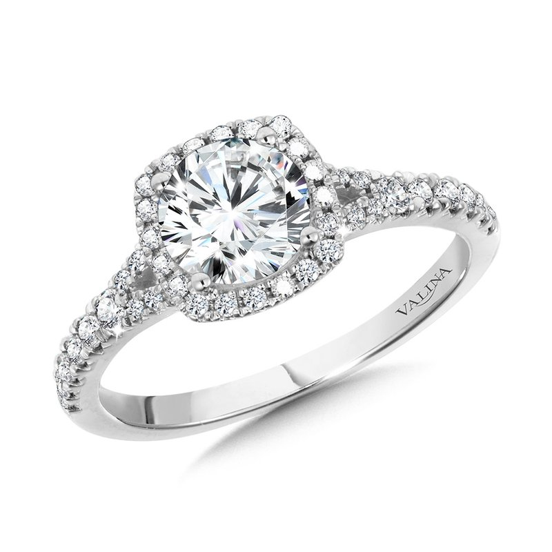 Valina Cushion-Shaped Split Shank Halo Engagement Ring
