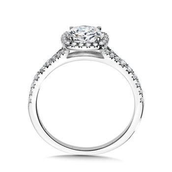 Cushion-Shaped Split Shank Halo Engagement Ring
