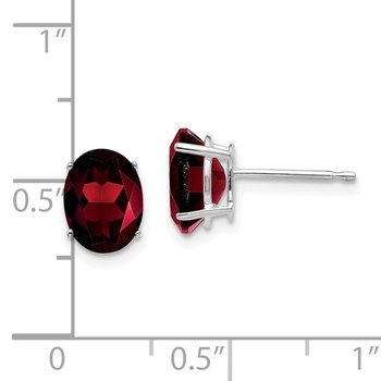 14k White Gold 8x6mm Oval Garnet Earrings