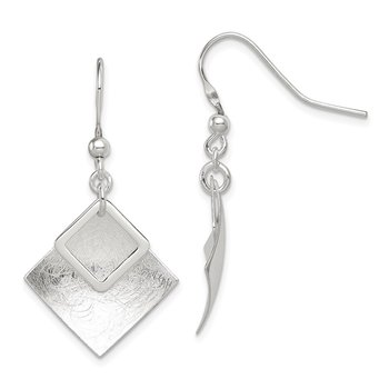 Sterling Silver Polished / Textured Square Shepherd Hook Earrings