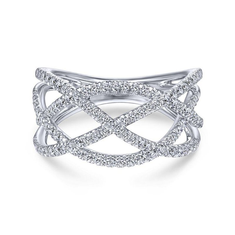 Amavida 14K White Gold Layered Grid Diamond Ring