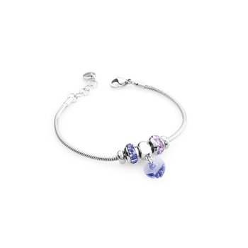 316L stainless steel, tanzanite and violet Swarovski® Elements crystals.