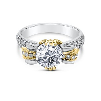 Platinum 18K Yellow Gold Diamond Engagement Retro Ring
