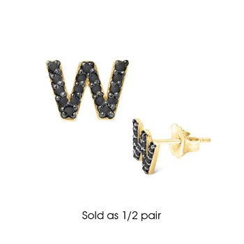 "Black Diamond Single Initial ""W"" Stud Earring (1/2 pair)"