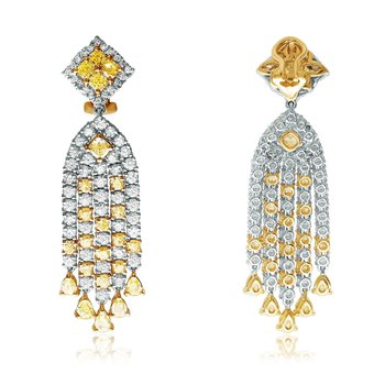 Two Tone Diamond Dangle Earrings