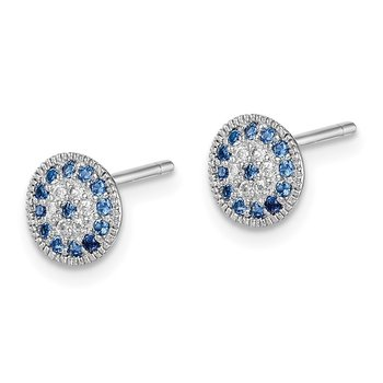 Sterling Silver Rhodium plated Blue Spinel and Clear CZ Post Earrings