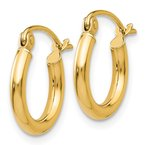 Quality Gold 14K Polished 2mm Lightweight Tube Hoop Earrings