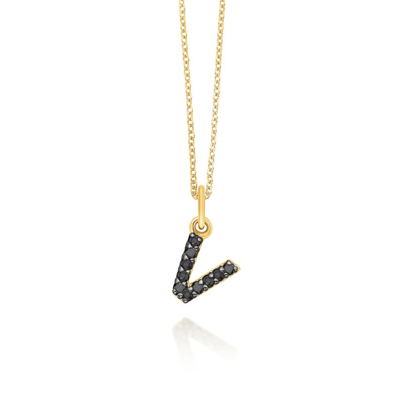"KC Designs Black Diamond Baby Block Initial ""v"" Necklace"