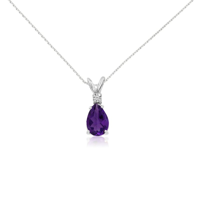 Color Merchants 14k White Gold 7X5 Amethyst Pear and Diamond Pendant
