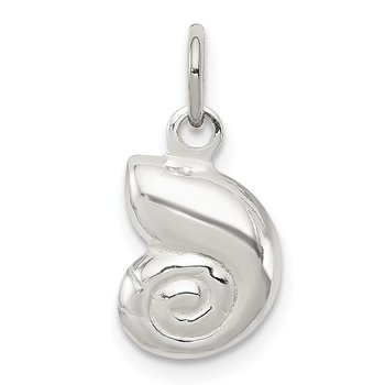 Sterling Silver Puffed Shell Charm