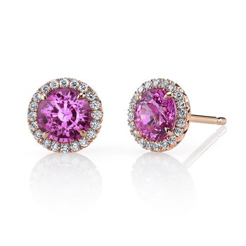 Pink Sapphire Diamond Stud Earrings