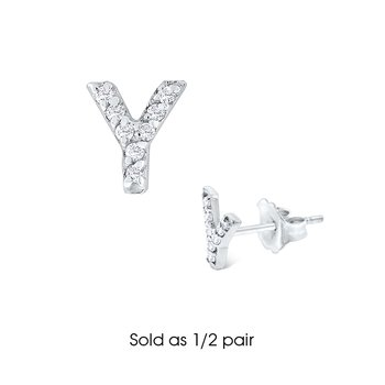 "Diamond Single Initial ""Y"" Stud Earring (1/2 pair)"