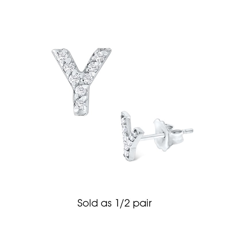"KC Designs Diamond Single Initial ""Y"" Stud Earring (1/2 pair)"