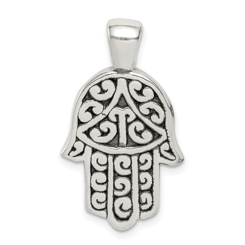 Quality Gold Sterling Silver Antiqued Hasma Pendant