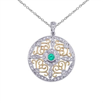 14k Two-Tone Gold Emerald and Diamond Round Filigree Pendant