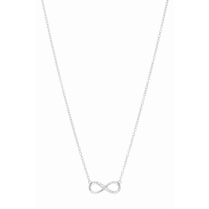 "Royal Chain Silver 18"" CZ Infinity Necklace"