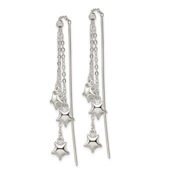 Sterling Silver Polished and D/C Star Beaded Threader Earrings