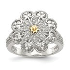 Shey Couture Sterling Silver w/14k Diamond Vintage Ring