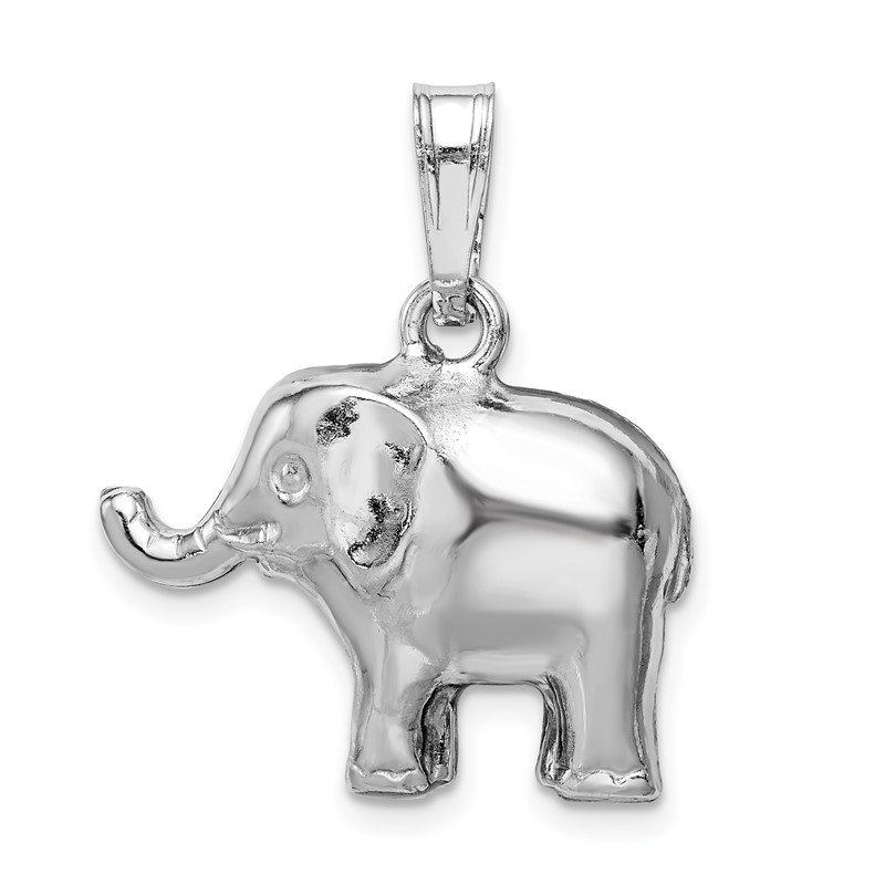 Quality Gold Sterling Silver Rhodium-plated Polished Elephant Pendant