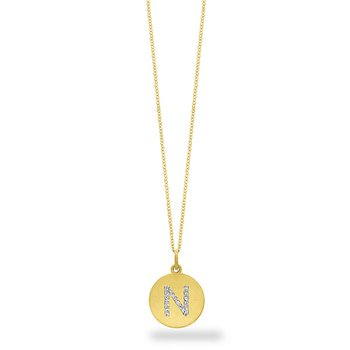"Diamond Disc Initial ""N"" Necklace in 14k Yellow Gold with 18 Diamonds weighing .08ct tw."
